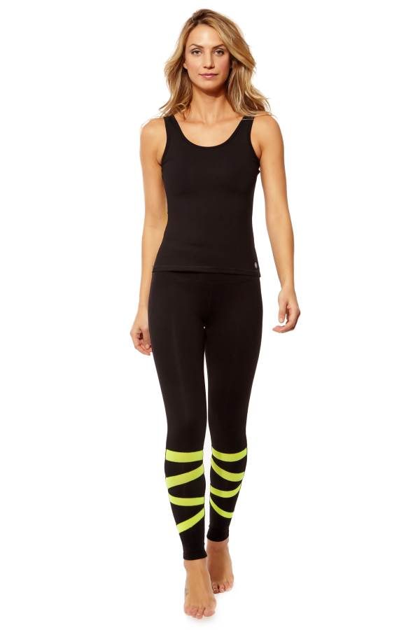 Form Fitting Leggings with Calf Zigzag Mesh in Neon Yellow (1)