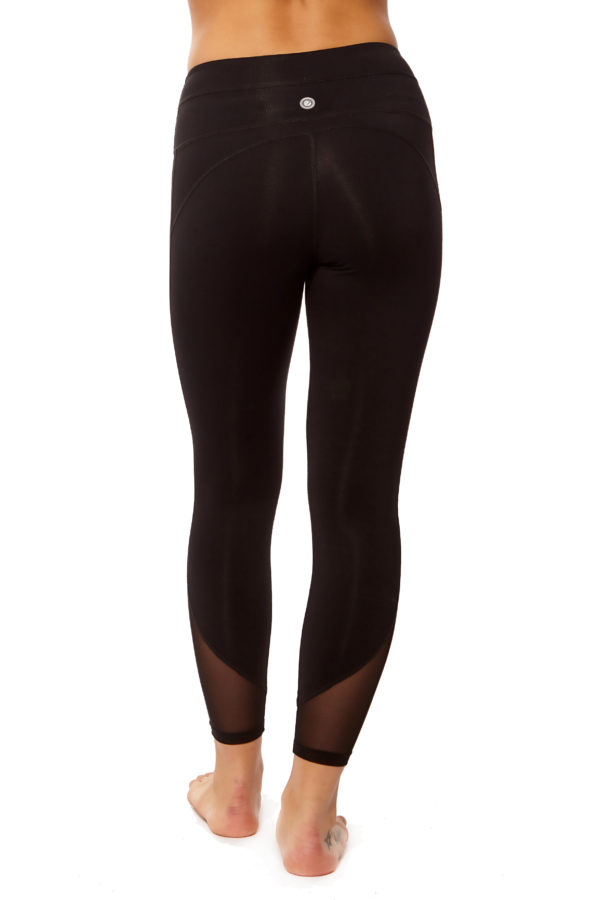 Form Fitting Leggings with Side Mesh and Double Band (3)