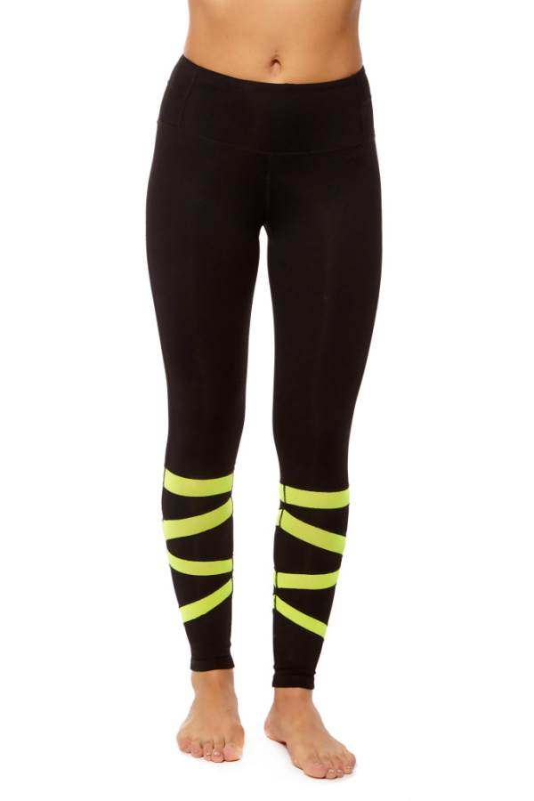 Form Fitting Leggings with Calf Zigzag Mesh in Neon Yellow (5)