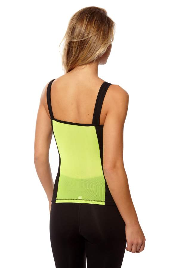 High Performance Neon Yellow Yoga Outfit - Tank Top With Leggings