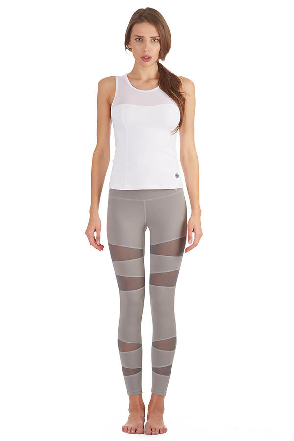 Form Fitting Leggings Mesh Vector Panels Grey